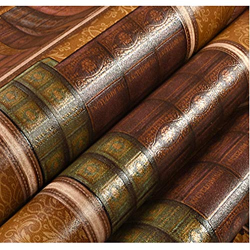 ZHAORLL 3D Kreative Bücherregal Bibliothek Studie American Retro Europäischen Tapete Kaffee Chinesischen TV Hintergrund Wand Tapete Nicht Selbstklebende 53 cm * 10 Mt,HD53 (Bücherregal-bibliothek-wand)