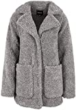 Sublevel Damen Teddy Kurz-Mantel Oversize mit Revers-Kragen Grey L/XL