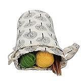Luxja Organizador Lanas, Bolsa para Tejer, Bolsa Ganchillo Almacenamiento para Agujas de Tejer (hasta 10 Pulgadas) Bolsa para Hacer Puntos y Guardar Accesorios de Crochet
