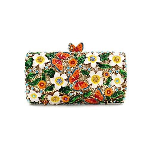 Damen Abendtasche Wasser-Diamant-Intarsien Schmetterling voller Diamant-Diamant-Wallet-Braut-Beutel-beweglicher Partei-Beutel color 1