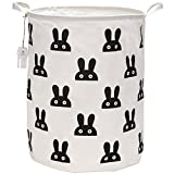 Cesta para lavandería Sea Team, de gran tamaño, 50 cm, impermeable, revestimiento impermeable, de algodón ramio, de arpillera, plegable, con cubo cilíndrico, con diseño de conejo bonito