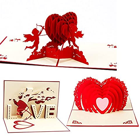 CCINEE 3 Set 3D Pop up Love Heart Greeting Cards for Wedding Valentine's Day Anniversary