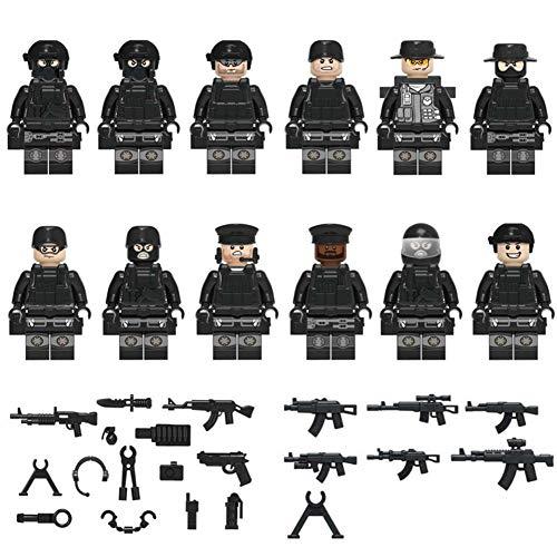 mbition 12PCS / Set Soldado Militar, Comando del Sello De Policía SWAT, Juguetes De Bloques De Construcción del Ejército Personalizados con Pistolas Y Accesorios