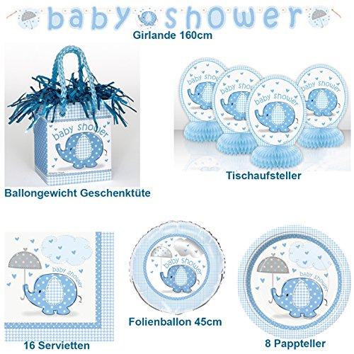 Baby Shower Set Geschirr Baby Geburt Geschenk 30-teilig Ballongewicht Geschenktüte Teller Servietten Folienballon Girlande Tischdeko (Teufel Babys)