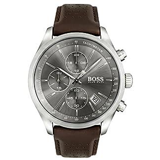 Hugo Boss 1513476GrandPrix Cronógrafo Reloj Reloj de hombre piel pulsera de acero inoxidable 3bar Analog Chrono Fecha Marrón