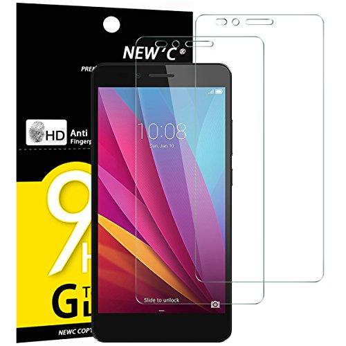 NEW'C Lot de 2, Verre Trempé pour Huawei Honor 5X, Film Protection écran - Anti Rayures - sans Bulles d'air -Ultra Résistant (0,33mm HD Ultra Transparent) Dureté 9H Glass