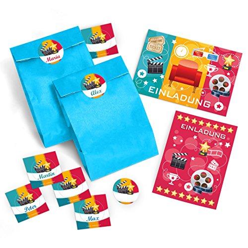 JuNa-Experten 8 Einladungskarten + 8 Umschläge + 8 + Tüten + 8 Aufkleber zum Kindergeburtstag für Mädchen und Jungen Kino-Party / Bunte Einladungen zum Geburtstag