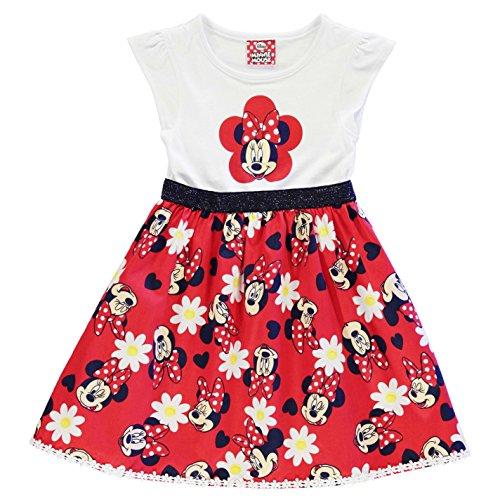 Character Kinder Maedchen Kleid Aermellos Rundhals Freizeit Sommer Baumwolle Minnie Mouse 2-3 (Kleid Polka Mouse Rot Dot Minnie)