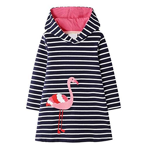 VIKITA Mädchen Kleider Streifen Langarm Baumwolle Herbst Winter T-Shirt Kleid JM7179 4T