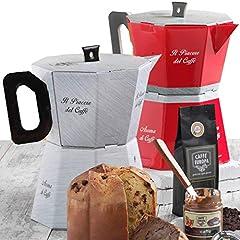 Idea Regalo - La Grande Moka - Cesto Natalizio con Caffè, Panettone Artigianale e Cioccolato