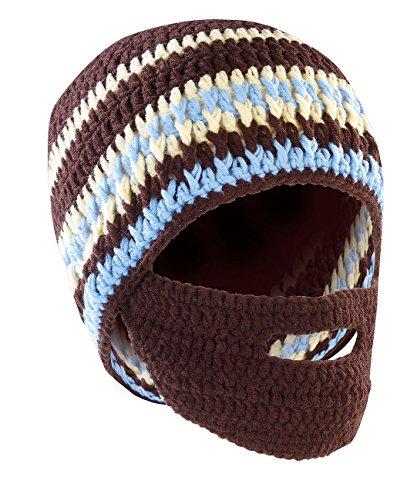 PEARL urban Bartmütze: Lustige Mütze mit Bart, braun-türkis (Winter-Mütze für Herren)