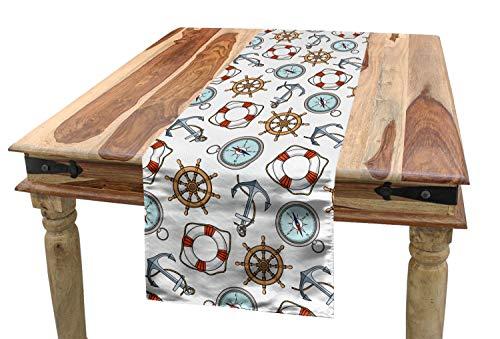 ABAKUHAUS Kompass Tischläufer, Helm Rettungsring Anker, Esszimmer Küche Rechteckiger Dekorativer Tischläufer, 40 x 225 cm, Mehrfarbig