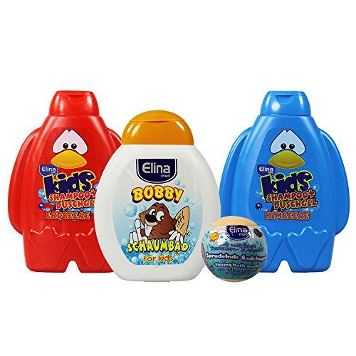 com-four® 04-teiliges Schaum-Badeset aus Schaumbad, Badekugel und 2 in 1 Shampoo + Duschgel in verschiedenen Düften für Kinder [Auswahl variiert] (04-teilig - Badeset) - Apfel Schaumbad