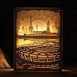 OOFAY LIGHT® Licht und Schatten Papier Geschnitzt Lampe Oriental Pearl Tower Nachttisch Dekorative Lampe DIY Geburtstag Kreative 3D Nachtlicht Fernbedienung Valentinstag Geburtstagsgeschenk