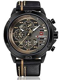 e91c96ef186 NAVIFORCE Mens Watches Top Brand Luxury Waterproof 24 hour Date Quartz  Watch Men Waterproof Man Leather Sport Wrist Watch (BLACK…