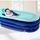Sweet Bathtub Aufblasbare Badewanne verlängert Adult Verdickung Wannen-faltendes Bad-Fass-Plastikbad-Fass 168 * 78 * 45CM (Farbe : Blau)