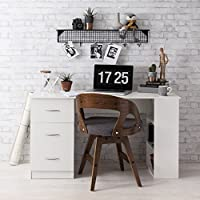 White Computer Desk Workstation bench - with 3 Drawers & 3 Shelves for home or office use - Laura James Premium