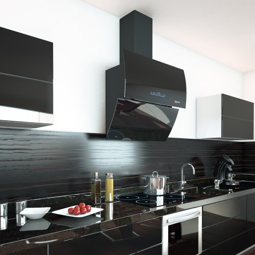 BERGSTROEM Dunstabzugshaube Kopffreihaube Edelstahl Glas Nachlauffunktion 90cm Black Elegance -