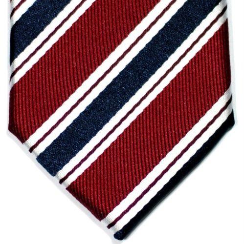Cravate Fine Slim À rayures Preppy Tissée en Microfibres de Retreez Rouge bordeaux et Bleu marin