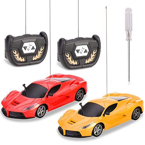 GOLDGE 2pcs Ferngesteuertes Auto Kinderspielzeug Felxibles Fahrzeug mit Fernbedienung Geschenke für Kinder