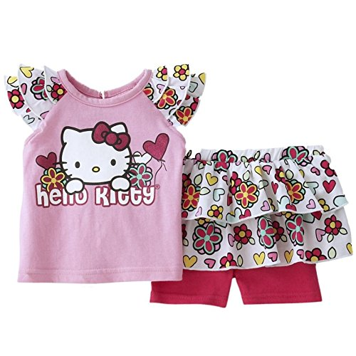 Hello Kitty Kinder Baby Mädchen Sommer Outfit T-Shirt + Rock mit integrierter Leggings Hose (Hello Outfit Kitty)