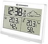 Bresser Funkwetterstation Temeo Trend LG für Temperatur und Luftfeuchtigkeit inklusive Wettertrend-Vorhersage, Funkuhr mit Wecker und Außensensor, weiß