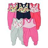 Baby Strampler mit Print 100% Baumwolle Babystrampler Jungen Strampelanzug Mädchen im 5er PACK, Farbe: Mädchen, Größe: 56