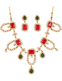 Touchstone Indian Indian Bollywood Red Faux Rubies Emeralds White Stones Jewelry Necklace Set For Women