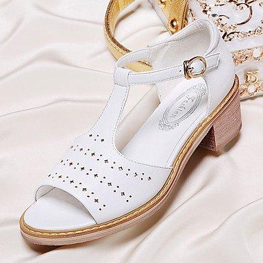LvYuan sandali da donna Primavera Estate altro ufficio sintetico&vestito da carriera tacco grosso casuale nero bianco White