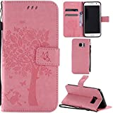 Ooboom® Samsung Galaxy S7 Edge Case Cat Tree Pattern PU Leather Flip Cover Wallet Stand with Card/Cash Slots Packet Wrist Strap Magnetic Clasp for Samsung Galaxy S7 Edge - Pink