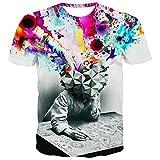 HCFKJ T-Shirt Blusen Herren, Persönlichkeit Formel 3D 3D-Druck beiläufige dünne kurzärmelige Shirt Top Bluse (L4, WH)