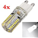 4 Bombillas LED de luz blanca - 3W de potencia - Base G9 - Luz 3014 SMD - Color 6500K