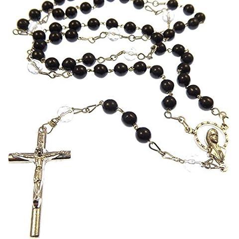 Sept Douleurs chapelet de perles - verre noir et argent plaqué avec des perles claires