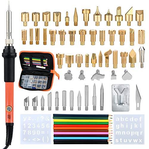 ben Set, 70 Stück Brandmalerei Holz Werkzeuge mit Eisen Tipps, Buchstaben Zahlen Schablonen für Leder, Cork Handwerk, PU Leder Aufbewahrungstasche ()