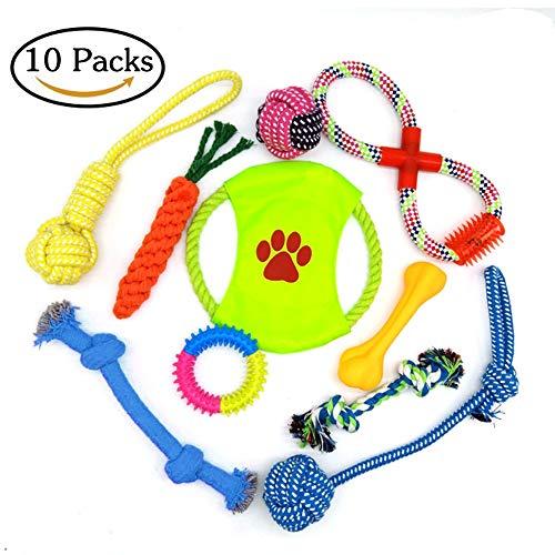 ZOOYAUE Hundespielzeug Set,10er Haustier Spielzeug welpenspielzeug Kauspielzeug Seil, Ball, Baumwollknoten, Frisbee, Kauspielzeug Spielzeug Set für kleine Hunde und Welpen -