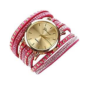 Fulltime(TM) Mode Femmes Bracelet Rose en Cristal Montre à Quartz Rivet Tressés Enroulement de Poignet