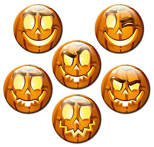Smiley Magnete Halloween für Magnettafel Kinder stark Emoji lustig 6er Set groß rund 50mm mit Motiv Kürbis Gesichter (Happy Halloween-gruseliges Gesicht)