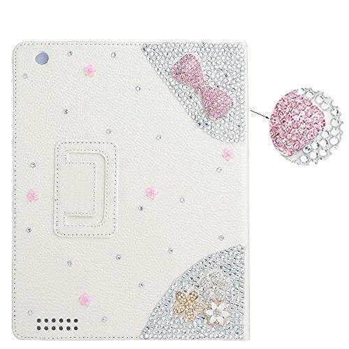 Preisvergleich Produktbild spritech (TM) 3D Handmade Bling Diamond Design Fit Schutzhülle Folio Ständer PU-Leder Smart Schutzhülle, weiß, iPad 2/iPad 3/iPad 4