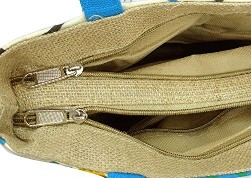 """Stammes Druck Baumwolle Jute Handtasche der Frauen beiläufige Schulter Dame Strand Einkaufstasche 13,5"""" x 12,5"""" Zoll Beige und Blau"""