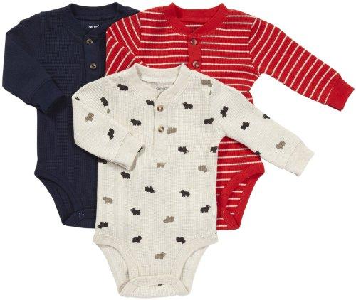 Carter's Body 3-er Pack Langarmbody 50/56 Onesie Junge Unterwäsche Baby Shirt Langarm (50/56, rot/blau/beige) Carters Shirt
