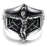 Die besten Bishilin Freunde Halskette für Jungen - Bishilin Herren Ring Titan Silber Schwarz Jesus Kreuz Bewertungen