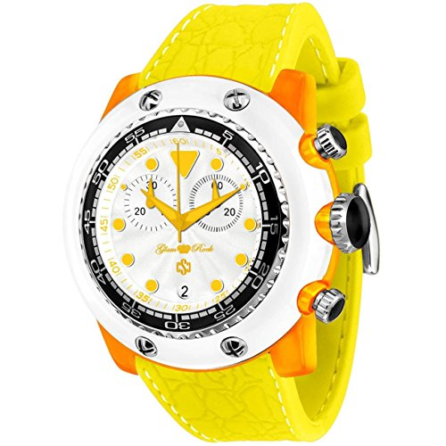 Glam Rock Men's Miami Beach 50mm Yellow Silicone Band Polycarbonate Case Quartz White Dial Watch GR20152