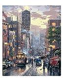 WMMSM Nueva York calle pintura hecha a mano día ocupado sin marco decoración del hogar pintura al óleo imagen por paisaje digital arte de la pared decoración