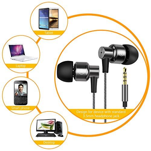 Gritin In Ear Kopfhörer, Ear Ohrhörer 2018 Metallisches Stereo Headset Earphones mit Ohrstöpseln und Mikrofon für iPhone, Android Smartphones und MP3 Players usw - 6