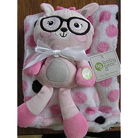 Baby Gear 2Girl Baby coperta peluche Kitty giocattolo, con pois