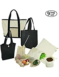 Black : Simple Ecology Organic Cotton Reusable Grocery Shopping Bag Gift & Starter Set Of 9 Bags - Black