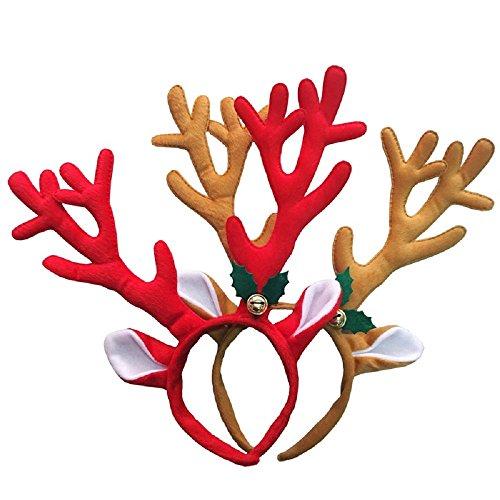 (Packung mit 2) niedliche Rentier Geweih Stirnband Headwear Haarband für Weihnachten Stirnbänder, Party, Cosplay, Halloween und Maskerade Haar-Accessoire (braun & ()
