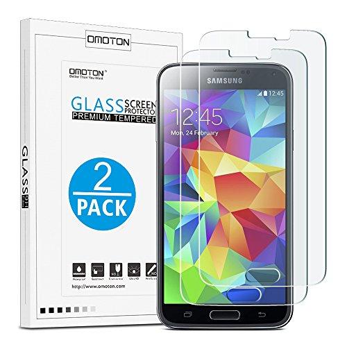 [2 Stück] OMOTON Panzerglas Displayschutzfolie für Samsung Galaxy S5, Anti-Kratzen, Anti-Öl, Anti-Bläschen, lebenslange Garantie
