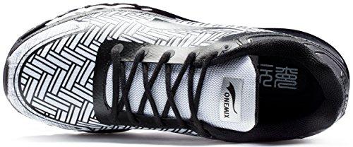 ONEMIX Scarpe da Corsa Basse Uomo Ginnastica Sportive Running Nero/Bianco