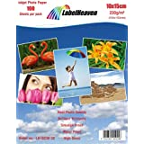 LabelHeaven 100 hojas de papel de foto 10 x 15 cm 230 g / qm brillo resistente al agua